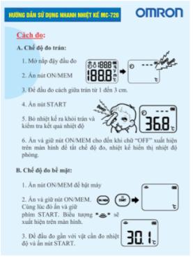 Hướng dẫn sử dụng nhanh nhiệt kế đo trán MC-720 1